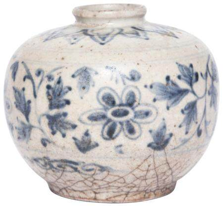 Southeast Asian Blue and White Glazed Pottery Jar