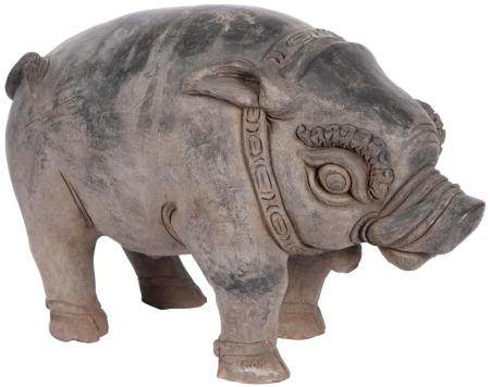 Eastern Javanese Gray Pottery Figure of a Boar