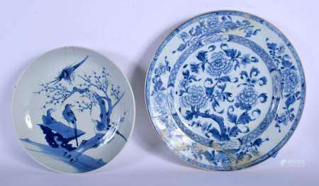 A LARGE 18TH CENTURY CHINESE BLUE AND WHITE EXPORT CHARGER Yongzheng, together with another. 35 cm &