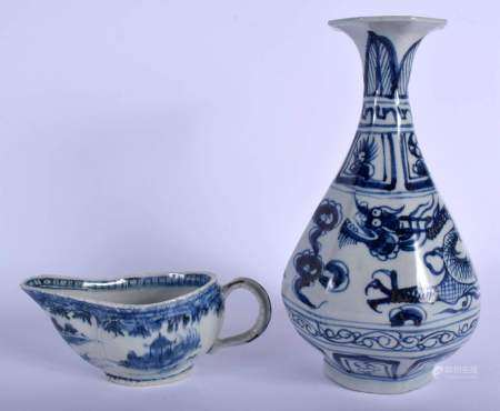 A CHINESE BLUE AND WHITE OCTAGONAL VASE 20th Century, and a sauceboat. Largest 28 cm high. (2)