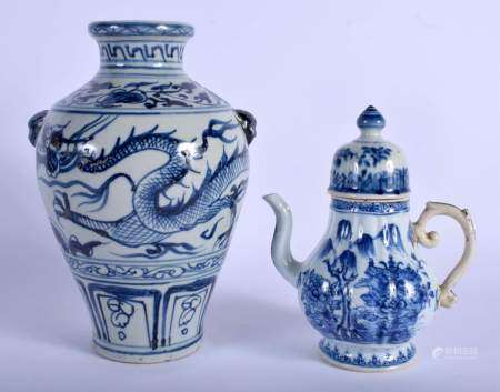 A CHINESE BLUE AND WHITE DRAGON VASE 20th Century, and a jug & cover. Largest 25 cm high. (2)