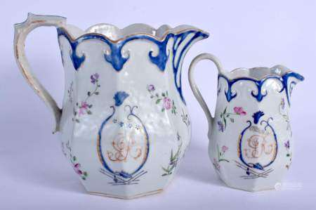 TWO RARE LARGE 18TH CENTURY CHINESE EXPORT FAMILLE ROSE JUGS Qianlong. Largest 19 cm x 19 cm.