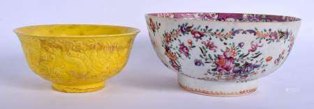 AN 18TH CENTURY CHINESE EXPORT FAMILLE ROSE BOWL Qianlong, together with a bowl. Largest 19 cm diame