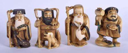 A SET OF FOUR EARLY 20TH CENTURY CHINESE CARVED IVORY IMMORTALS Late Qing. 9 cm x 4 cm. (4)