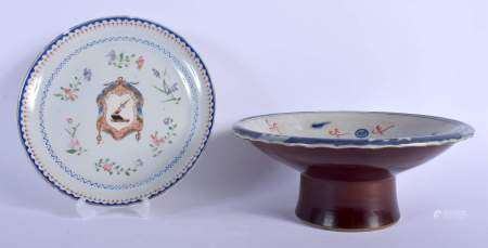 A CHINESE IRON RED BLUE AND WHITE PORCELAIN DRAGON TAZZA 20th Century, and an armorial plate. Larges