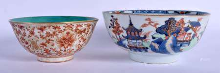 A CHINESE IRON RED PORCELAIN BOWL 20th Century, together with another imari bowl. Largest 21 cm diam