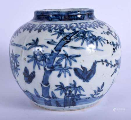 A CHINESE BLUE AND WHITE PORCELAIN MELON SHAPED JARLET 20th Century. 14 cm x 14 cm.