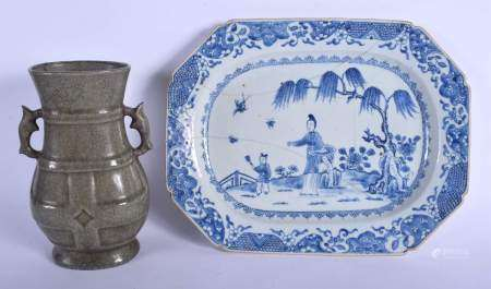A CHINESE GE TYPE CRACKLE GLAZED VASE 20th Century, together with a platter. Largest 34 cm x 25 cm.