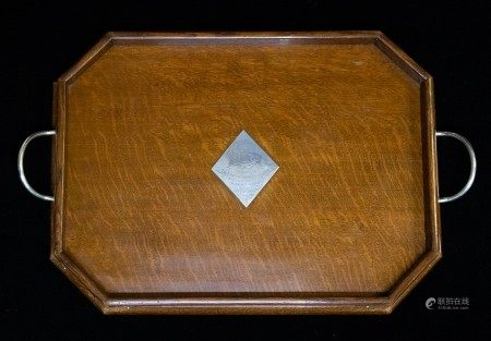 An Edwardian silver mounted oak presentation Butler's two handled tray, with central diamond