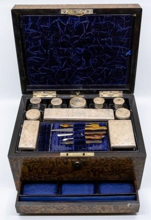 A Victorian Ladies silver-mounted travelling dressing table set, the silver by William Neale,