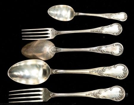 A mid 19th century French silver 950 standard hour glass, scroll and reed pattern part flatware