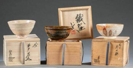 3 JAPANESE TEA BOWLS.