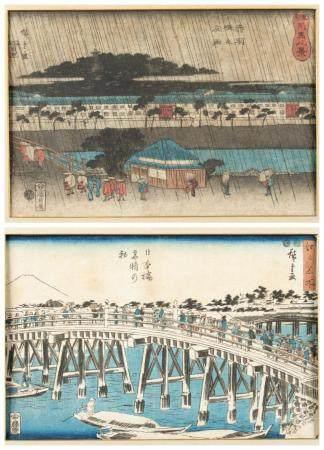 2 JAPANESE WOODBLOCK PRINTS, HIROSHIGE.