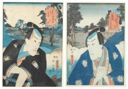 2 JAPANESE WOODBLOCK PRINTS, KUNISADA.