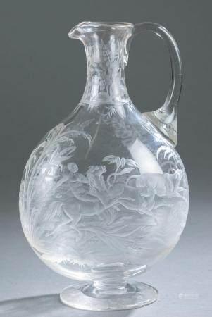 WILLIAM FRITSCHE, ATTRIB., GLASS CLARET JUG.