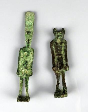 Ensemble de deux statuettes Bronze 10,5 et 14 cm Style antique