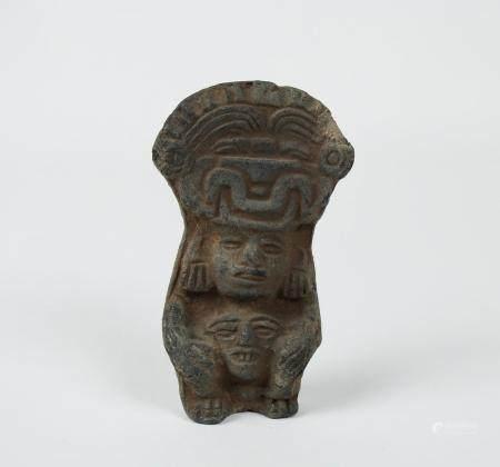 Amulette de grande taille représentant le dieu Bes Terre cuite 5,3 cm Egypte antique Basse Epoq