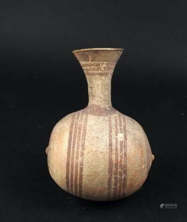 Pichet en forme de tonneau à décor de lignes géométriques Terre cuite 11 cm Chypre Cypo-Geometr
