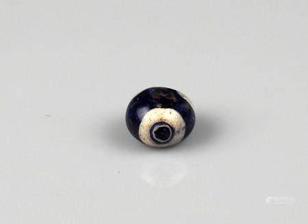 Superbe perle à décor d'yeux Pâte de verre 1,3 cm Période antique Bassin Méditerranéen
