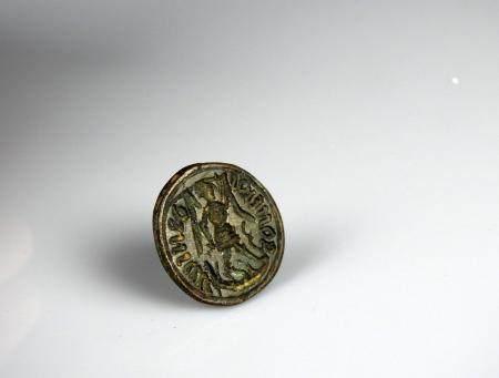Sceau gothique en laiton à décor de St Michel terrassant le dragon, lu Daniel Goniros 2 cm