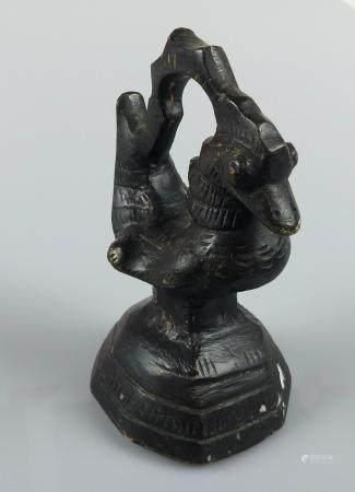 Grand poids aviforme. Bronze.Birmanie.XIX-XXès. H :9cm.