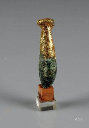 Tête en bronze, partiellement dorée 4 cm Style phénicien