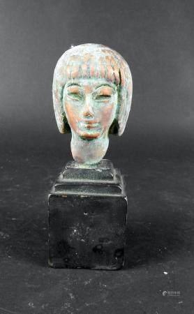 Tête en cuivre représentant une concubine 8 cm Style egyptien