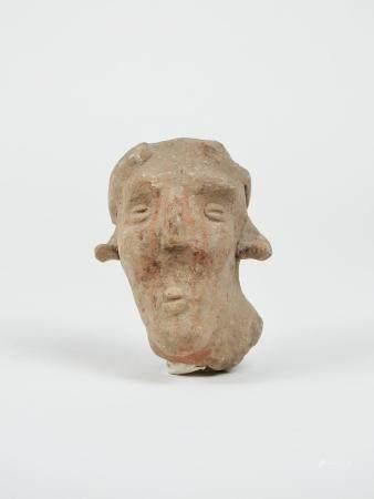Très grande tête au nez marqué Terre cuite 11 cm Amérique Précolombienne