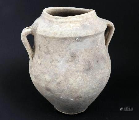 Cruche à deux anses Terre cuite grise 20 cm Période romaine