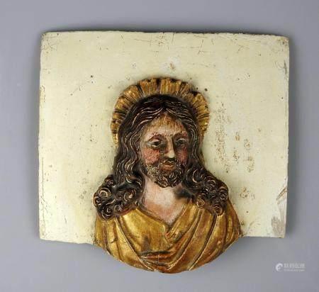 Plaque représentant un christ en relief Platre 13 x 12 cm XVIII ou XIXème siècle