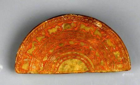Curieuse frise d'éléphants et de motifs végétaux dans une forme semi circulaire Marbre 12 cm In