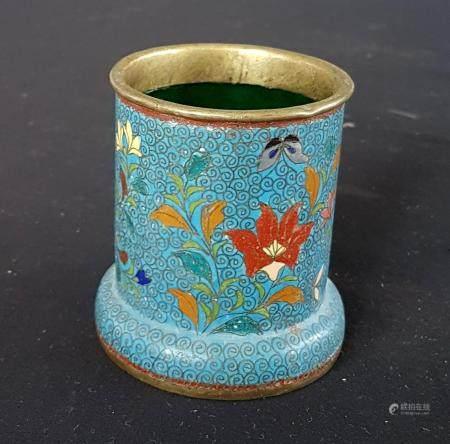 Pot en cloisonné orné de flettes 7,5 cm Chine fin du XIXème siècle