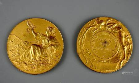 Deux flans préparatoires en bronze doré pour l'exposition universelle de Paris en 1902 5,6 cm