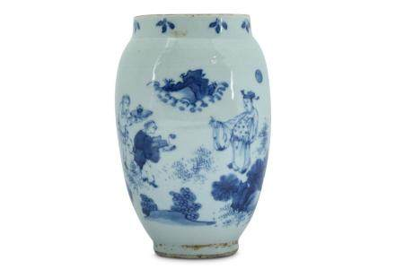 A CHINESE BLUE AND WHITE JAR.