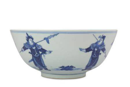 A CHINESE BLUE AND WHITE 'WARRIORS' BOWL.