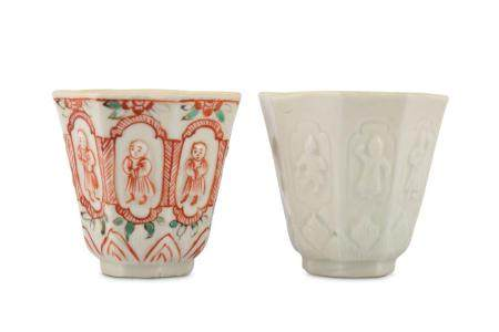 A PAIR OF CHINESE BLANC-DE-CHINE OCTAGONAL CUPS.