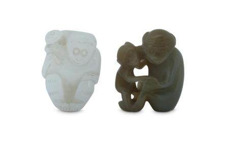 TWO CHINESE JADE 'MONKEY' CARVINGS.