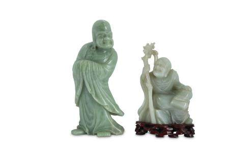 TWO CHINESE JADE CARVINGS OF LUOHANS.