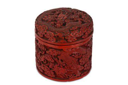 A CHINESE LACQUERED COPPER CIRCULAR 'DRAGON ' BOX AND COVER.