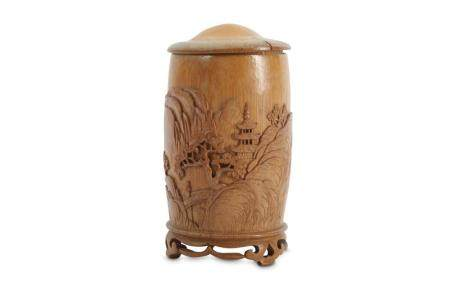 A CHINESE BAMBOO JAR AND COVER.