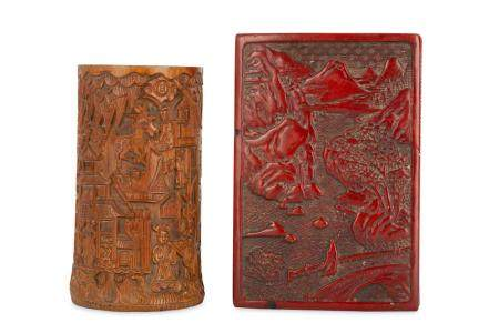 A CHINESE CINNABAR LACQUER BOX AND COVER AND A BAMBOO BRUSHP