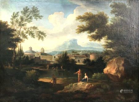 Nicolas POUSSIN (1594-1665) zugeschrieben. Arkadische Landschaft mit Passanten.