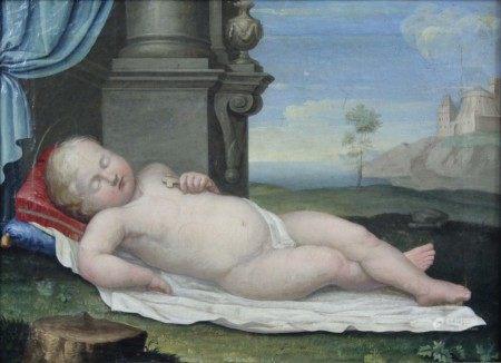 RAFFAEL UMKREIS. Schlafender Christus - Knabe.