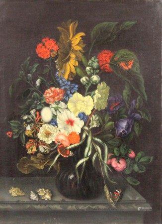 """Nach Maria VAN OOSTERWYCK. """"Blumen und Muscheln""""."""