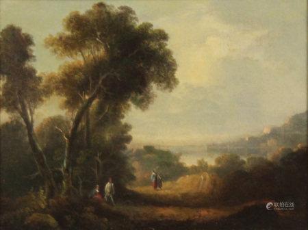 UNSIGNIERT (XVIII). Landschaft mit Bergen, See und Passanten.
