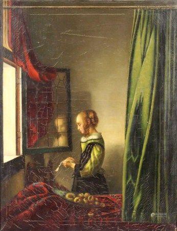 """Nach Jan VERMEER VAN DELFT. """"Brieflesendes Mädchen am offenen Fenster""""."""