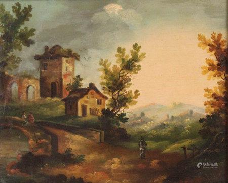 UNSIGNIERT (XVIII - XIX). Burgruine am Fluss. Berge. Passanten.