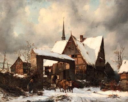 Carl Julius LEYPOLD (1806 - 1874). Bauerngehöft im Winter.
