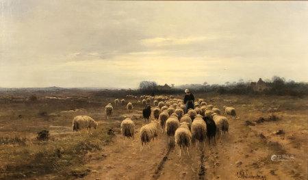 Cornelis I WESTERBEEK (1844 - 1903). Heimkehr der Schafsherde. 1899.