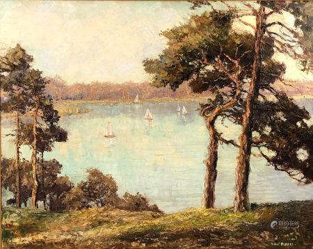 Otto PIPPEL (1878 - 1960). Segelboote auf einem See.